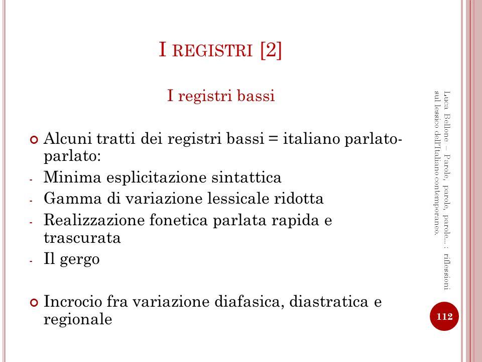 I registri [2] I registri bassi